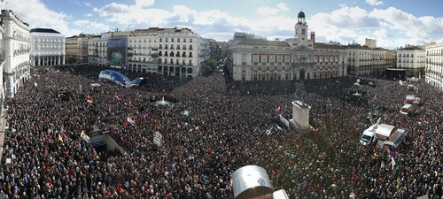 People fill Madrid's Puerta del Sol square during a rally by Spain's anti-austerity party Podemos in Madrid
