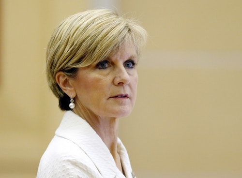 Australia's Australian Foreign Minister Julie Bishop co-hosts an Australian ministerial meeting at the 48th Association of Southeast Asian Nations (ASEAN) foreign ministers meeting in Kuala Lumpur, Malaysia
