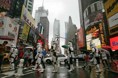 Star Wars stormtroopers in New Yorks Times Square