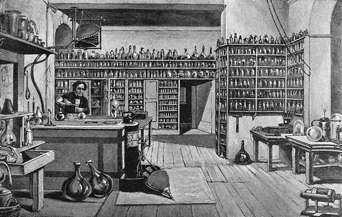 Faraday_in_his_laboratory_at_the_Royal_I
