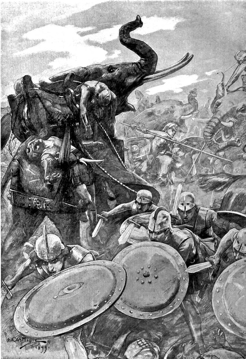 The_phalanx_attacking_the_centre_in_the_