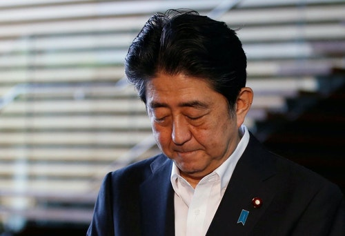 Japan's Prime Minister Shinzo Abe speaks to the media at his official residence after returning from his Middle East trip, in Tokyo